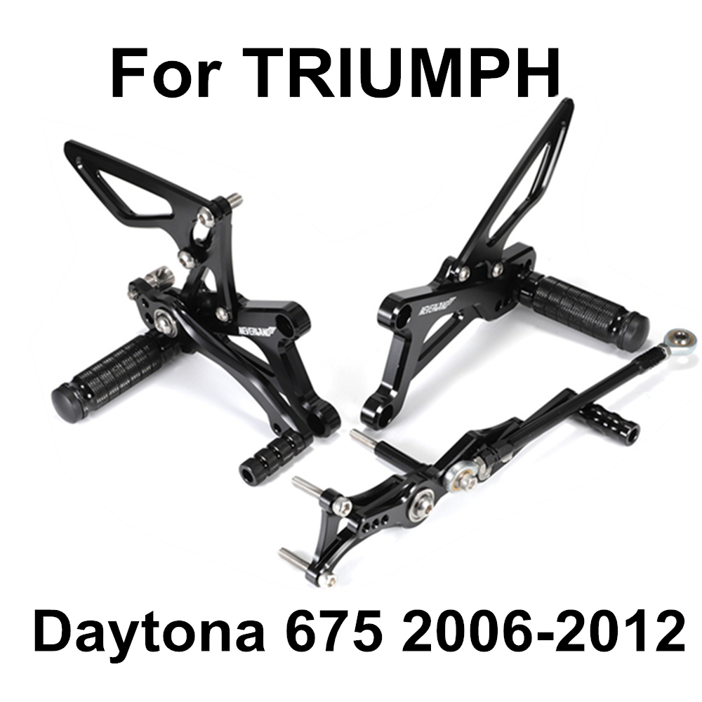 Motorcycle Footrests Rear Pegs Pedals Foot Rest CNC For TRIUMPH Daytona 675 Street Triple 2006 2007 2008 2009 2010 2011 2012 D50