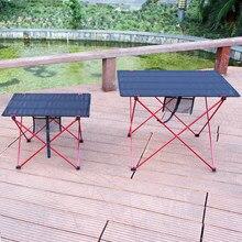 Portátil ao ar livre dobrável mesa de acampamento mobiliário computador 6061 liga alumínio ultraleve dobrável mesa piquenique