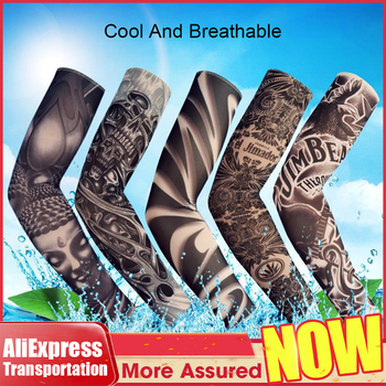 Tattoo Sleeve Gloves Arm Warmers Sun Protection Men Fake Sleeves Body Tatoo AliExpress Transportation