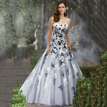 fashion Charming A-Line Strapless Black And White Wedding Dress Flower Lace Appliqued Beaded Bridal Gown trouwjurk