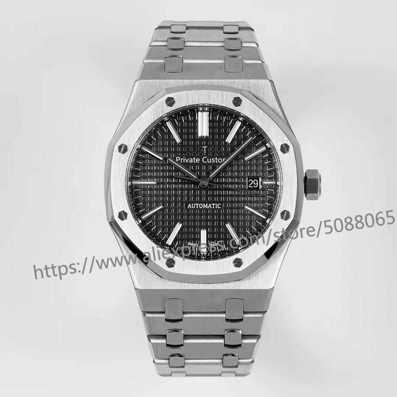 Automatic Mechanical Watches luxury brand Watch Men 41mm Sport  Luminous calendar black stainless steel   033