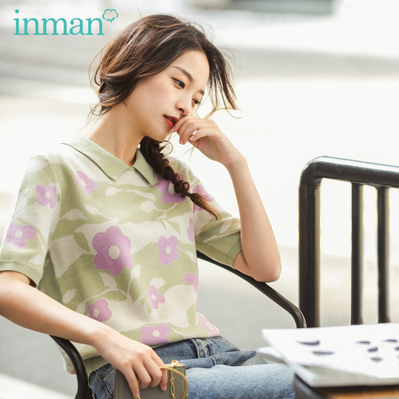 INMAN 2020 Spring New Arrival Literary Lapel Flower Jacquard Weave Base Short Sleeve Knit Sweater