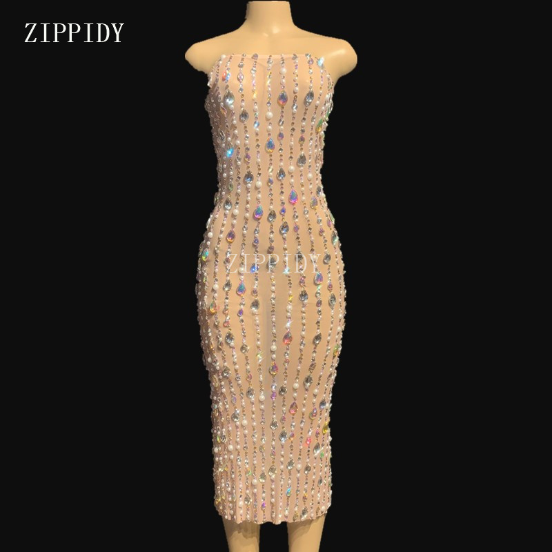 Big Crystals Pearls Perspective Dress Evening Celebrate Long Dress See Through Outfit Singer Prom Party Performance YOUDU