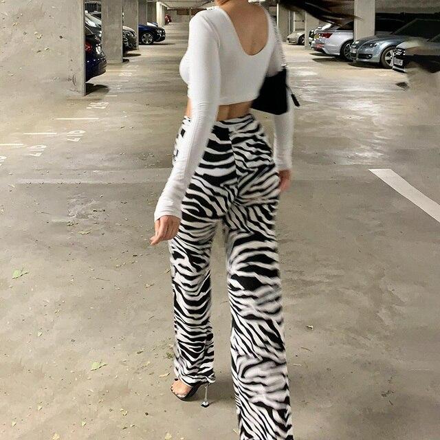Zebra Print Wide Leg Pants  4