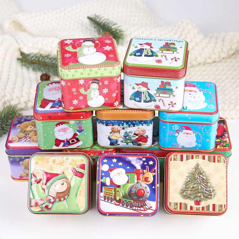 Candy Box Cute Christmas Tin Box Candy Baking Mini Gift Package Cookies Biscuit Case Container Sealed Storage Jar Random Pattern