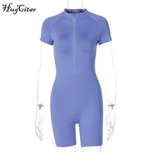 Hugcitar 2020 short sleeve zipper patchwork sexy bodycon playsuit summer women
