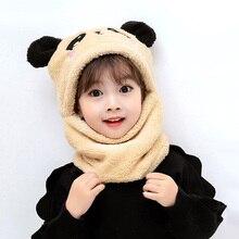 Hat Cap Toddler Cute Scarf Earflap Beanie Baby-Hat Plush Thicken Winter Warm Girl Bear