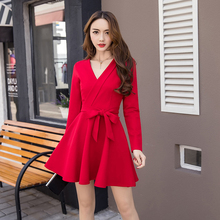 Office V Neck Red Dress Women Korean Style A Line Bowtie Mini Black Dress Elegant S-XL Solid Color Women's Dresses Long Sleeve pink korean style kawaii dress women long sleeve s xl bowtie elegant ladies dresses sweet button a line mini vestidos mujer 2019