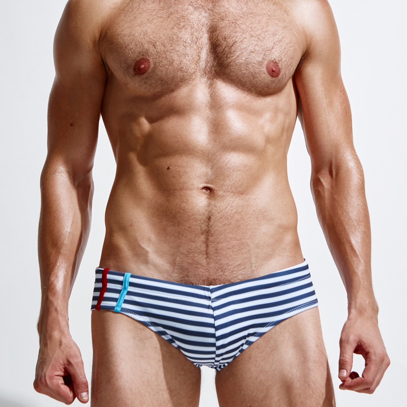 Men Stripes Swimming Trunks Bathing Suit Fashion Sexy Comfortable Breathable Slim Fit Lace-up Industry Swimming Trunks