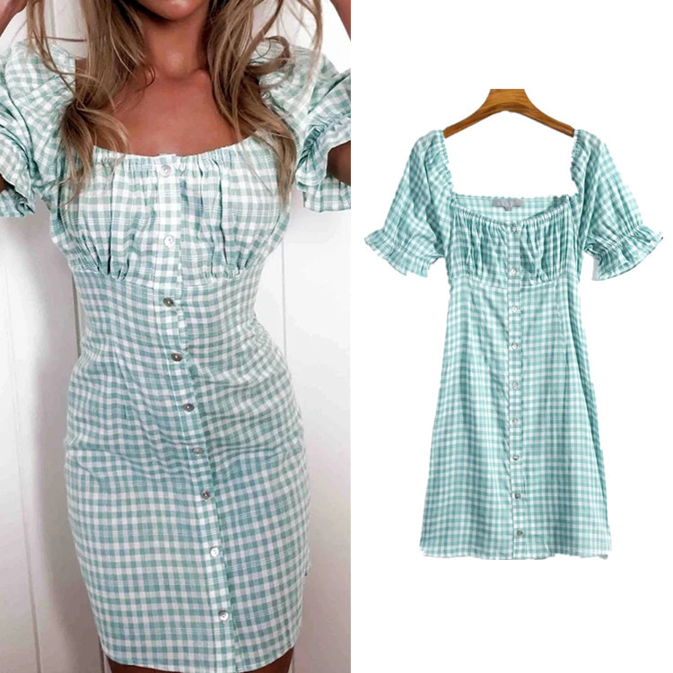 Fashion Square Collar Puff Sleeve Blue Plaid Dress Europe And America 2020 Chun Xin Literature And Art Single Breasted Skirt