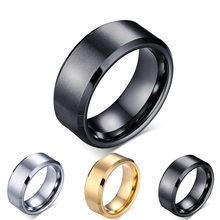 8mm double beveled 316 titanium steel ring men's ring scratch resistant tungsten steel rings silver Glossy matte rings jewelry(China)