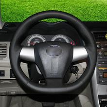 цена на Custom-made Hand-stitch Black leather Steering Wheel Covers For Toyota Corolla