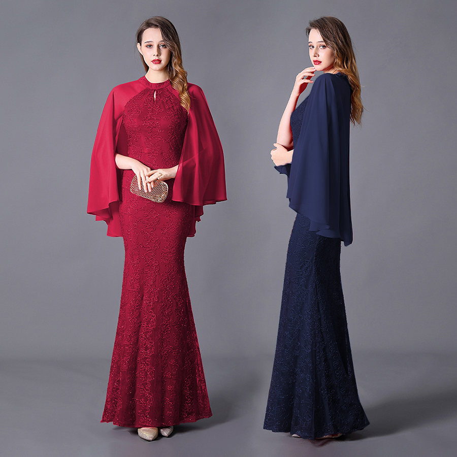 Wedding Dress Long Dress For Guest Watteau Train Mermaid High Neck Floor Length Zipper Stunning Vestido De Noiva With Embroidery