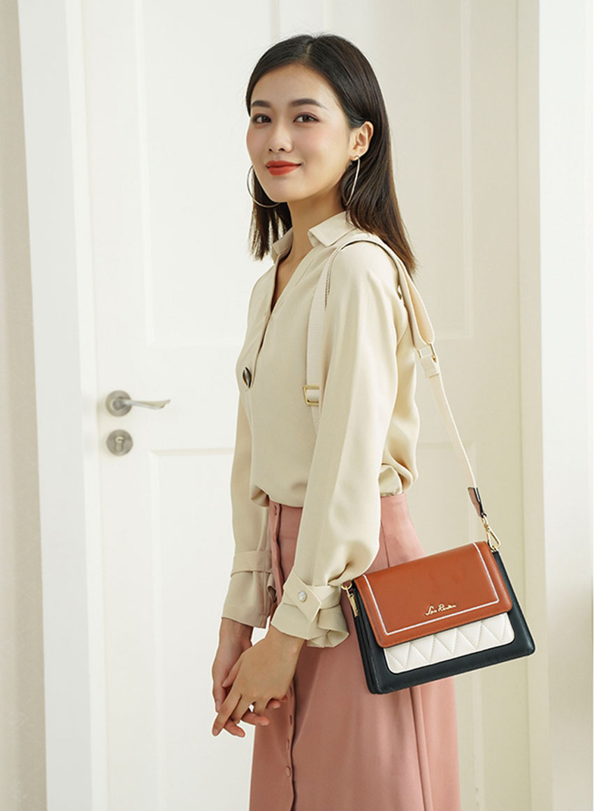 LAORENTOU women leather bag  2020 new fashion contrast color crossbody bag Wild single shoulder bag Small fresh messenger bag 4