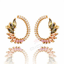 Luxury Multi Colour Zircon Leaf Jewelry Fashion Cubic Zirconia Stud Earrings for Women Wedding