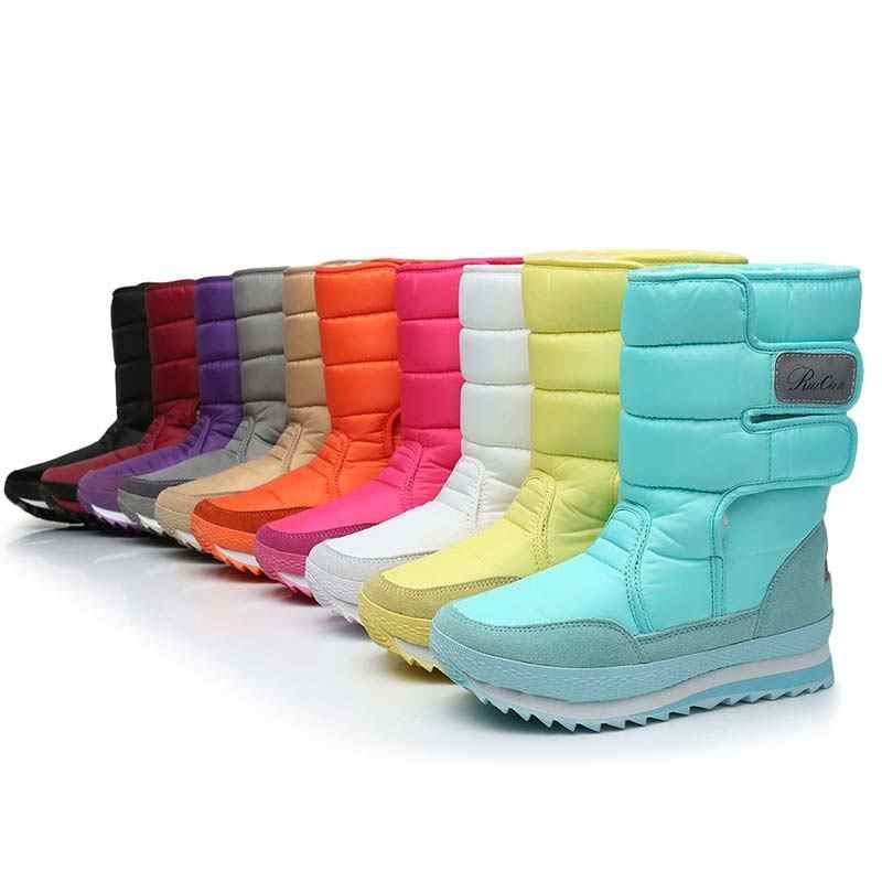 Kadın botları kış sıcak peluş orta buzağı çizmeler kadın ayakkabıları 2019 su geçirmez kış ayakkabı kadın kar botları kadın düz bayan ayakkabıları