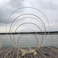 Arco de hierro circular para boda, accesorios de fondo, flor de arco individual, césped al aire libre, boda, puerta de flores, estante, Decoración de cumpleaños y boda