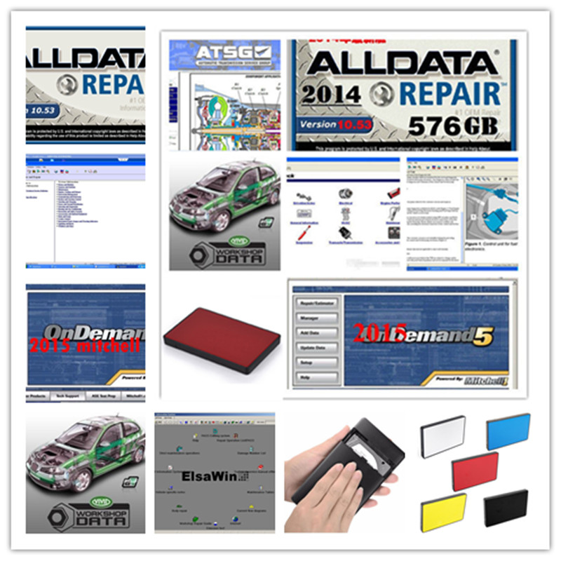 2020 Hot Alldata 10.53 Repair Software Mitchell On Demand 2015 Vivid Workshop Atsg ElsaWin 24 In 1tb Hdd Usb3.0 Free Shipping