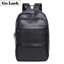GO-LUCK Brand 2019 New Black Genuine Leather Business Computer Laptop Backpack Men's Casual Travel Bag Pack
