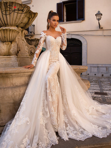 Image 5 - BAZIIINGAAA Luxury Long Sleeve Mermaid   Detachable Mermaid Tail 2 in 1 Lace Wedding Dress