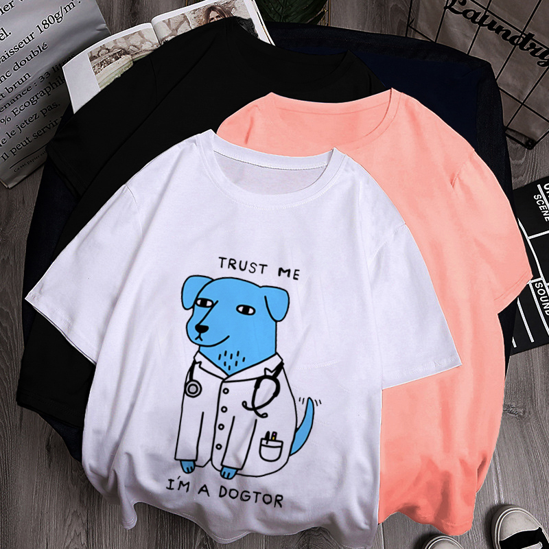 Summer Fashion 2020 Women Design Trust Me I'M A Dogtor T Shirt Dog Doctor Pop Funny T-Shirt Hip Hop Grunge Aesthetic Tee image