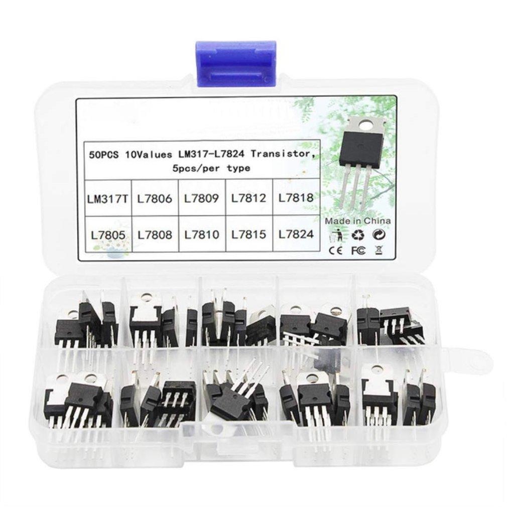 50pcs Transistor TO-220 Power Transistor Assortment Kit Three Pin Transistors Voltage Regulator Transistor Kit