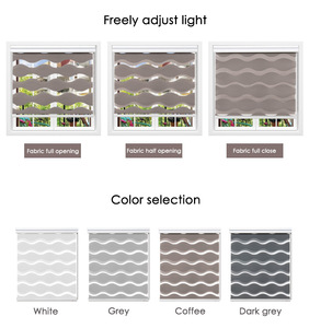 Image 5 - Wave type high quality zebra blinds 50%~90% shading rate Double layer Fashion Day night blinds for living room free shipping