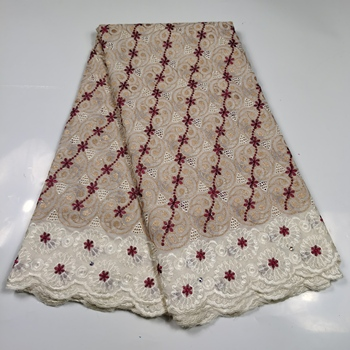 African Swiss Voile Lace Fabric High Quality 2020 Embroidery Soft Cotton Lace Fabric 5 Yards Nigerian Lace Fabric for Dress