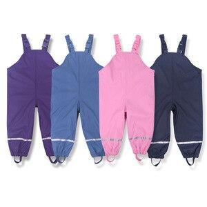 Image 1 - Marka su geçirmez Polar Polar yastıklı bebek kız erkek PU yağmur pantolon sıcak pantolon çocuk giyim çocuklar kıyafetler 85 130cm