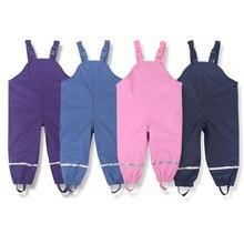 브랜드 방수 폴라 양 털 패딩 된 아기 여자 소년 PU 비 바지 따뜻한 바지 어린이 겉옷 아이 의상 85 130cm