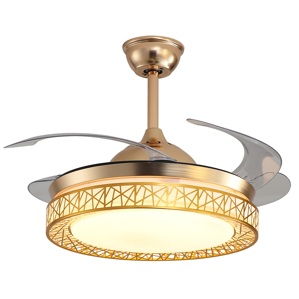 Fast Deliver Gold Ceiling Fans Remote Control Retractable Blades Fans With 3 Lights Level And 3 Speeds For Bedroom Dining Room Living Room