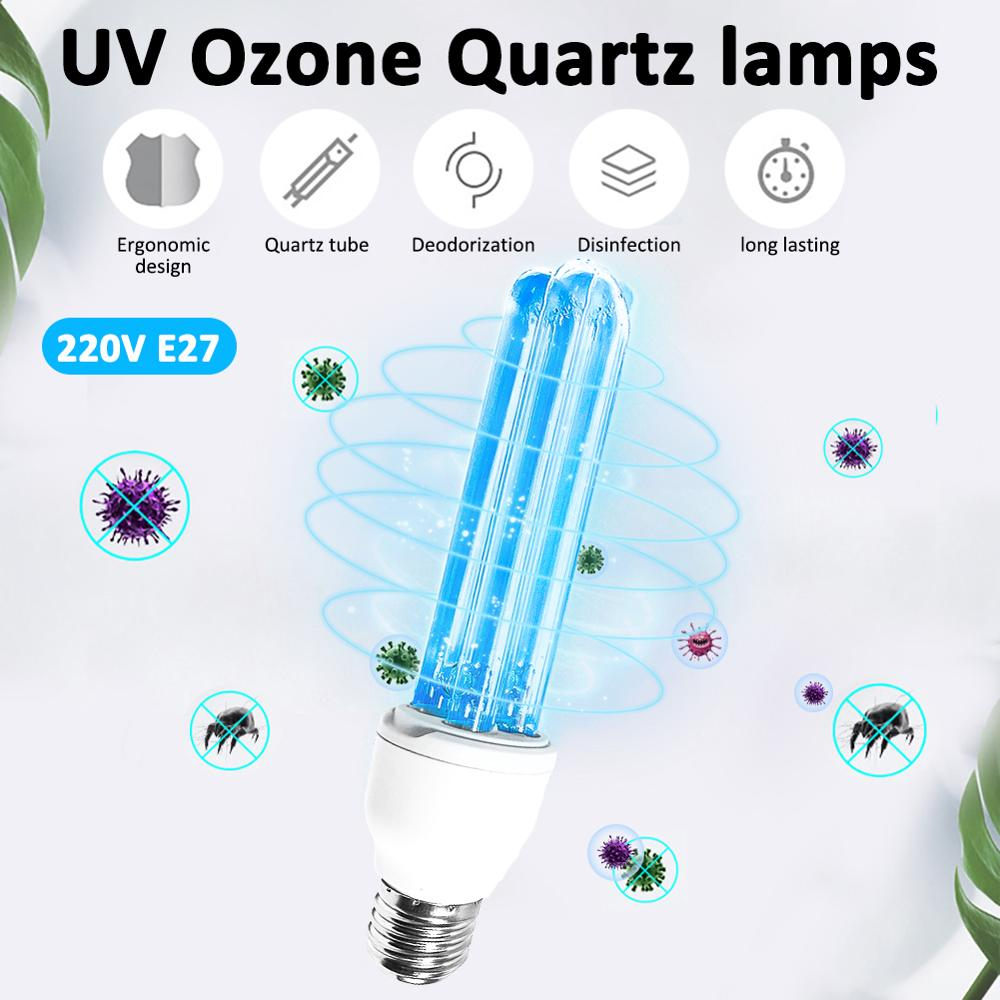E27 UV Ozone Quartz Lamps Ultraviolet Germicidal Lights UV Lamp For Home  Ultraviolet Sterilization Lamp Medical Sterilizat