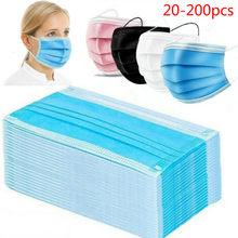 10-200 pces máscara descartável nonwove 3 camada máscara de filtro boca máscara facial filtro seguro respirável preto máscaras protetoras tampas de boca