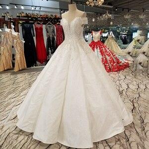 Image 3 - LS09670 어깨 아가씨 신부 가운 중국 온라인 상점 도매 오프 구슬과 바닥 길이 웨딩 드레스