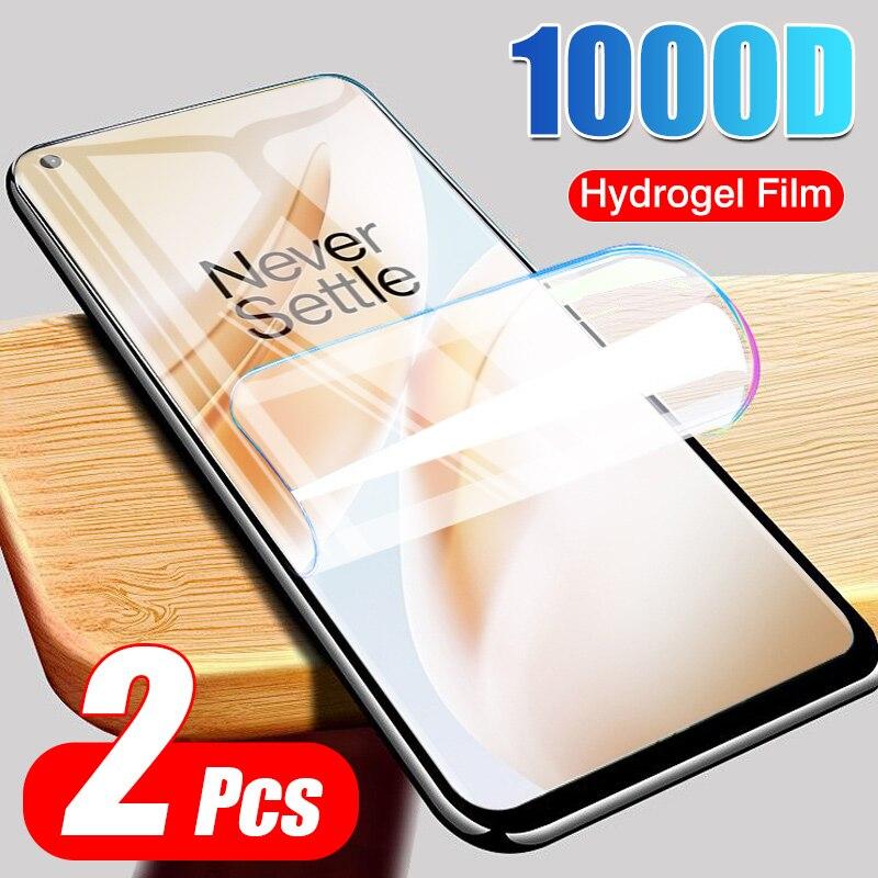 2 pçs filme de hidrogel macio para oneplus 7 pro 7t 6 6t 5t protetor de tela cheia para oneplus 8 pro 8 lite película protetora não vidro