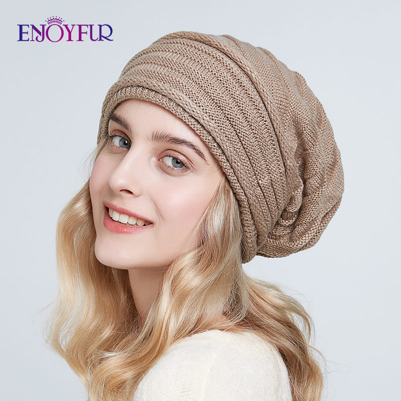 ENJOYFUR Women Winter Knit Hats Casual Slouchy Beanies Soft Oversized Warm Lining Lady Caps 2019 New Fashion