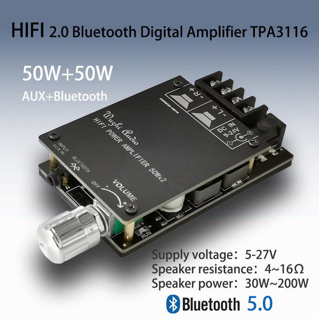 TPA3116 Bluetooth 5.0 HIFI Stereo Digital Power Audio Amplifier board 50W+50W Stereo AMP AUX with Adjust Volume for dc 12v 24v