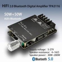 Tpa3116 placa amplificadora de áudio, bluetooth 5.0, hifi estéreo digital, placa do amplificador de áudio 50w + 50w stereo, amp aux com ajuste de display volume para dc 12v 24v