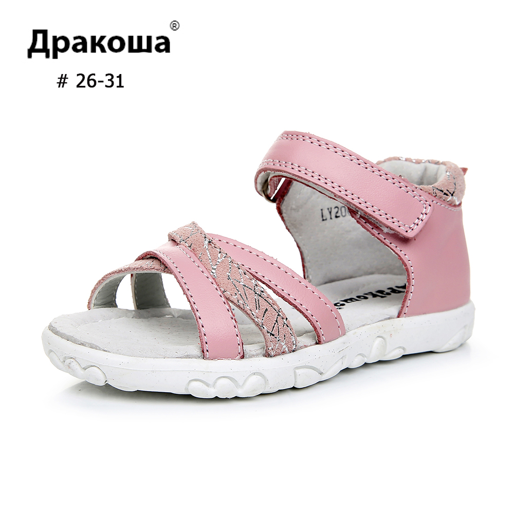 APAKOWA Girl Sandals Genuine Leather Summer Toddler Sandals Casual Cross