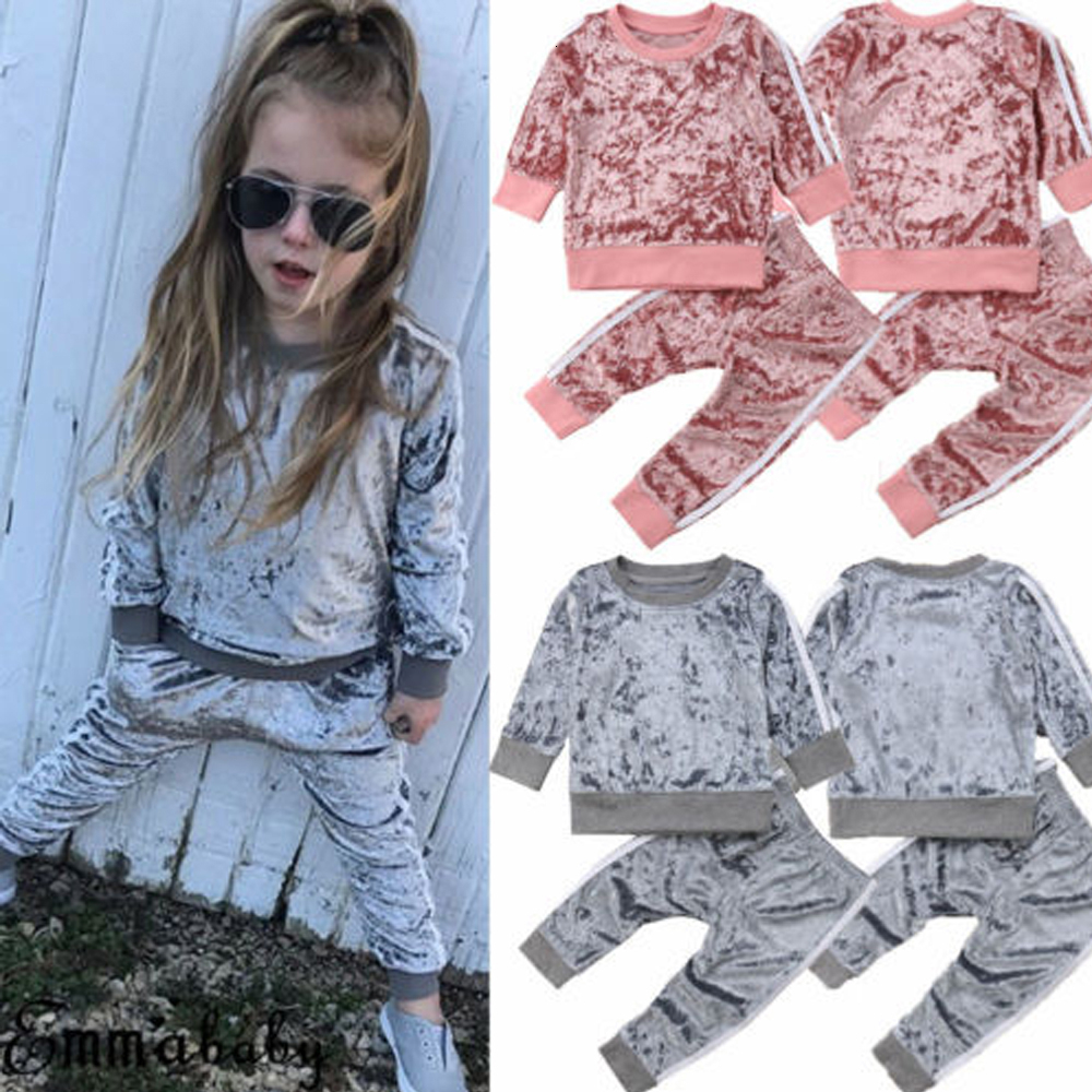 New Baby Girl Solid Stylish Toddler Kids Tracksuit Boys Velvet Tops Sweatshirt Pants Trousers Outfits Autumn Clothes Set 1-6 Y