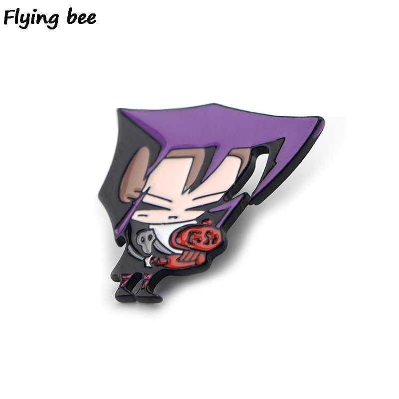 Flyingbee Invader Zim Bros dan Pin Alien Kartun Enamel Pin Lencana Kerah Pin Bros Lencana untuk Teman Wanita Pria x0424