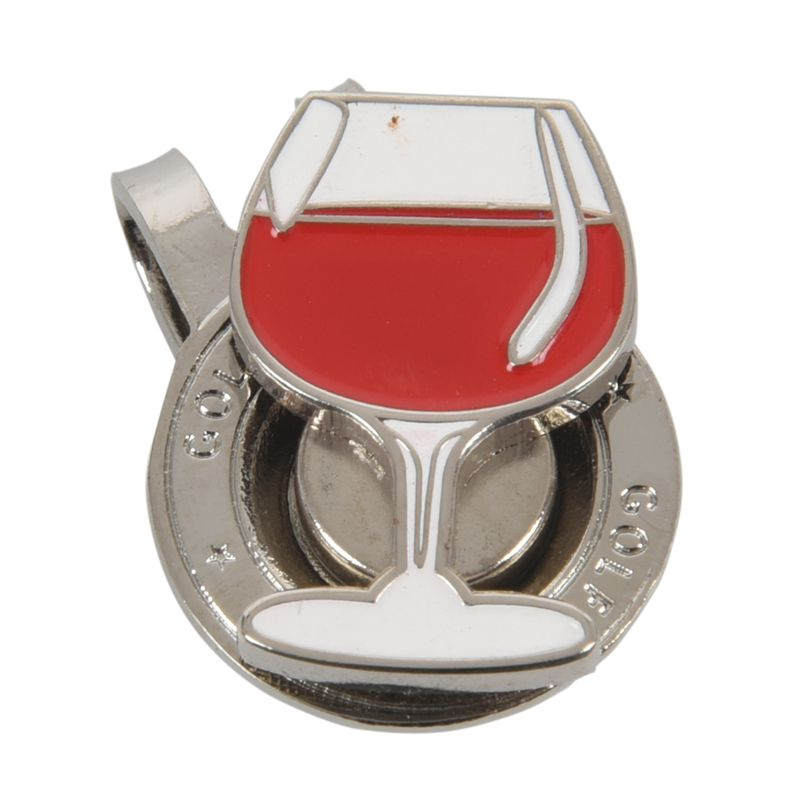 Magnetic Separation Metal Clip Golf Cap With Red Wine Cup Design Golf Cap Clip