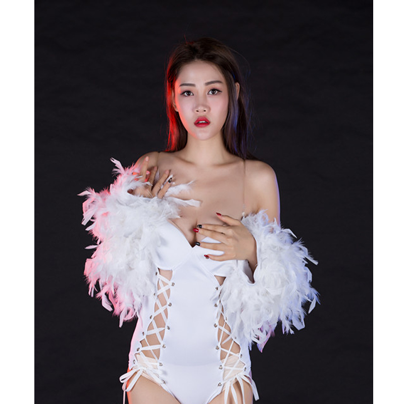 Jazz Dance Costumes Fashion Feather Sexy Bodysuit Female Singer Nightclub Ds Bar Dj Show Costume Stage Costume Outfits DQS2603