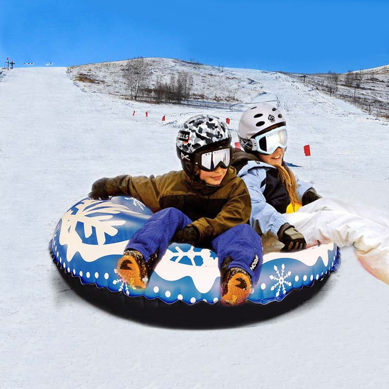 Outdoor Snow Tube Floated Skiing Board PVC Winter Inflatable Ski Circle With Handle Durable Children Adult Skiing Accessories