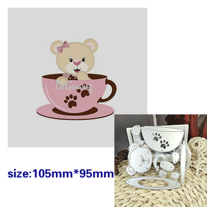 Suitable for Animal Bear coffee cup scrapbook metal cutting die embossing paper card process for baby 2020 NEW(China)