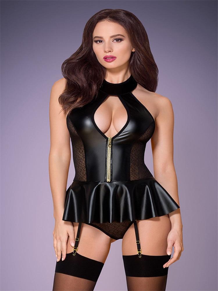 Sexy Lace Gothic Patent leather bodysuit Women PVC Open Crotch Lingerie Clubwear latex catsuit erotic Pole Dance Fetish Wear