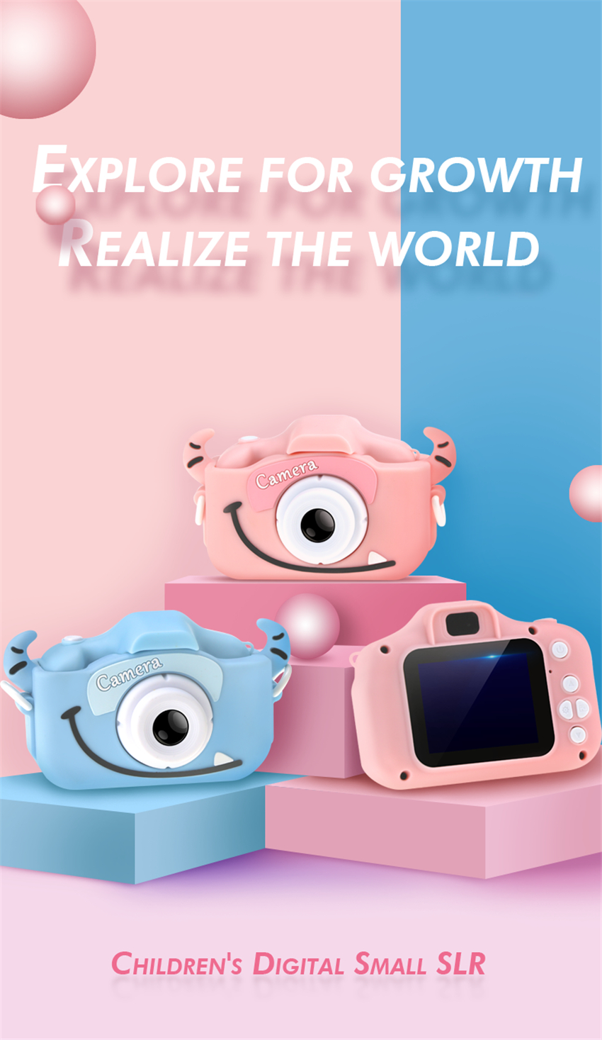 H562bd1c5e44744d3b01b84e0bd25de0cs x8 2.0 inch Screen Kids Camera Mini Digital 12MP Photo Children Camera with 600 mAh Polymer Lithium Battery Toys Gift