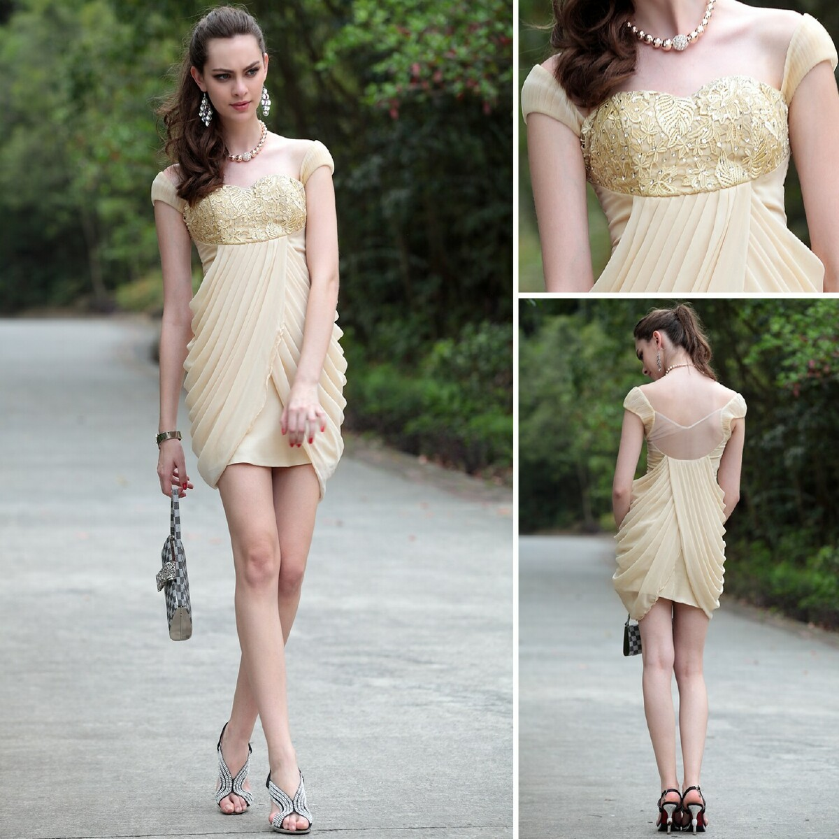 free shipping 2018 new beige prom gown outfit exquisite handmade sweetheart quality fashion gauze embroidery   bridesmaid     Dresses