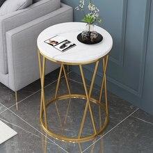Luz nordic luxo mesa de café sofá mesa de canto cabeceira quarto mármore padrão pequena mesa redonda mesas laterais móveis