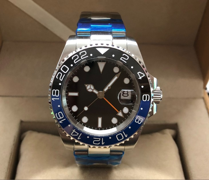 Sapphire crystal 40mm no logo black dial Asian Automatic Self-Wind movement Ceramic bezel GMT luminous men's watch gr68-20